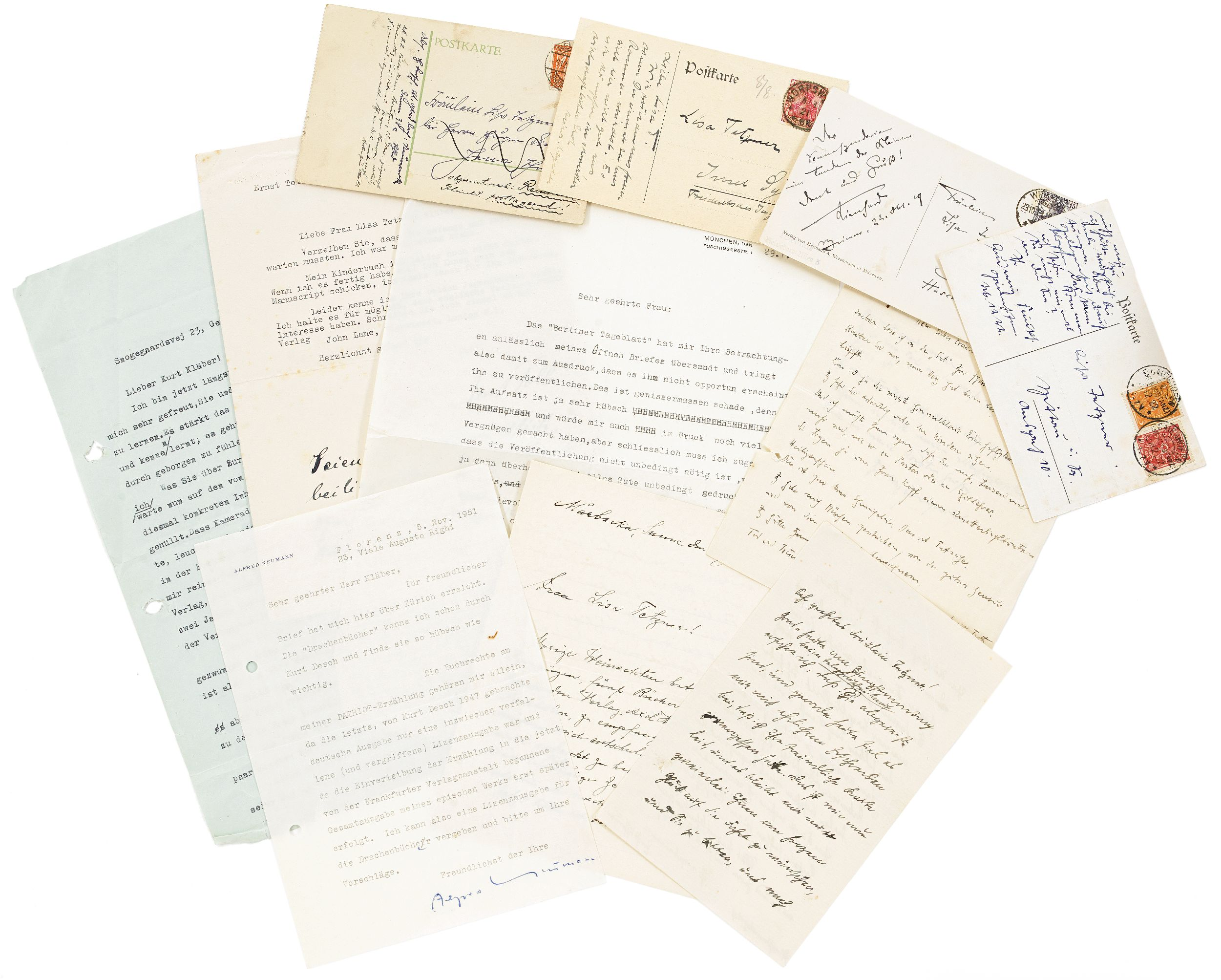 Letters by Mann to Lisa Tetzner and Kurt Kläber