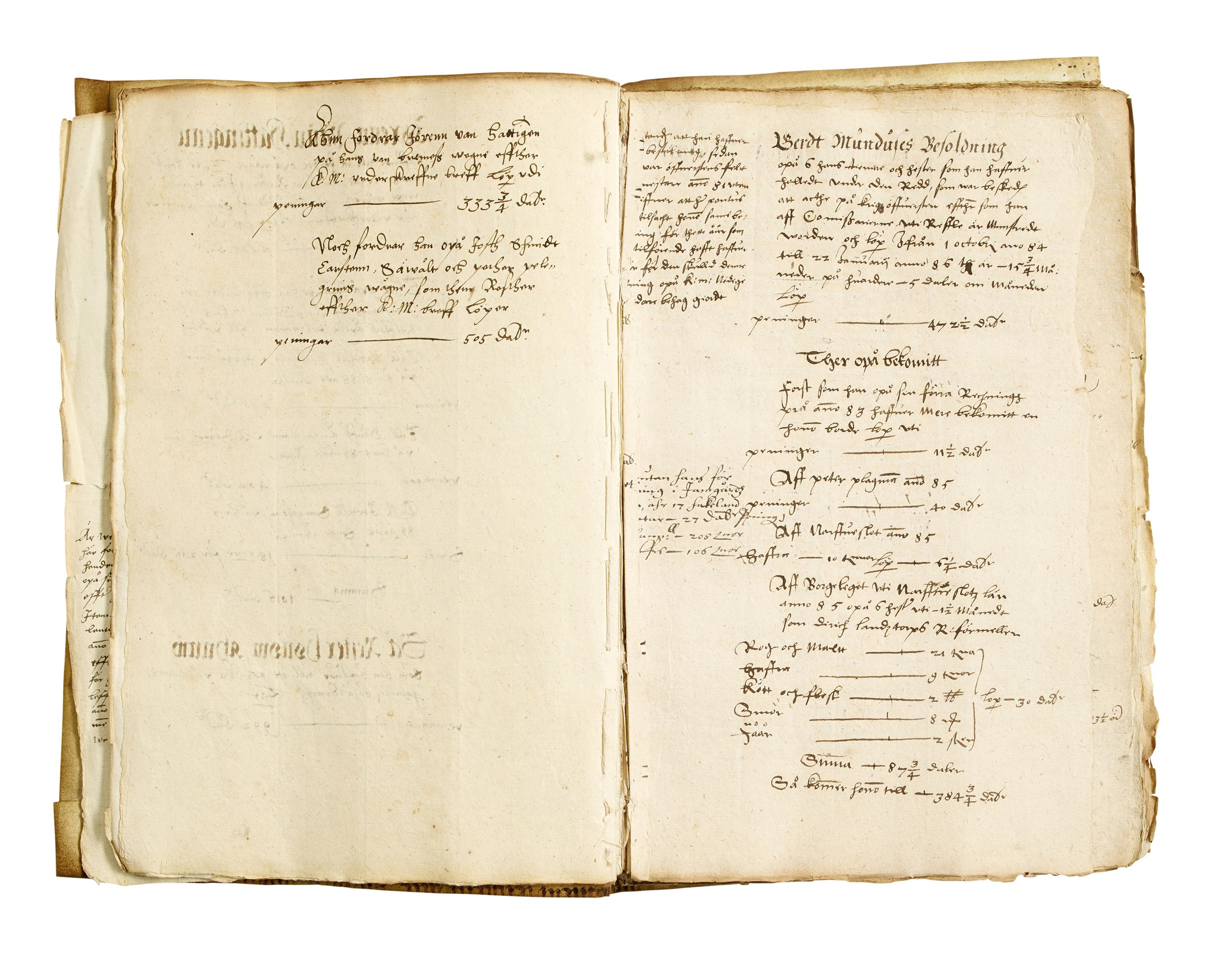 Manuscript regarding payments to mercenaries 1585