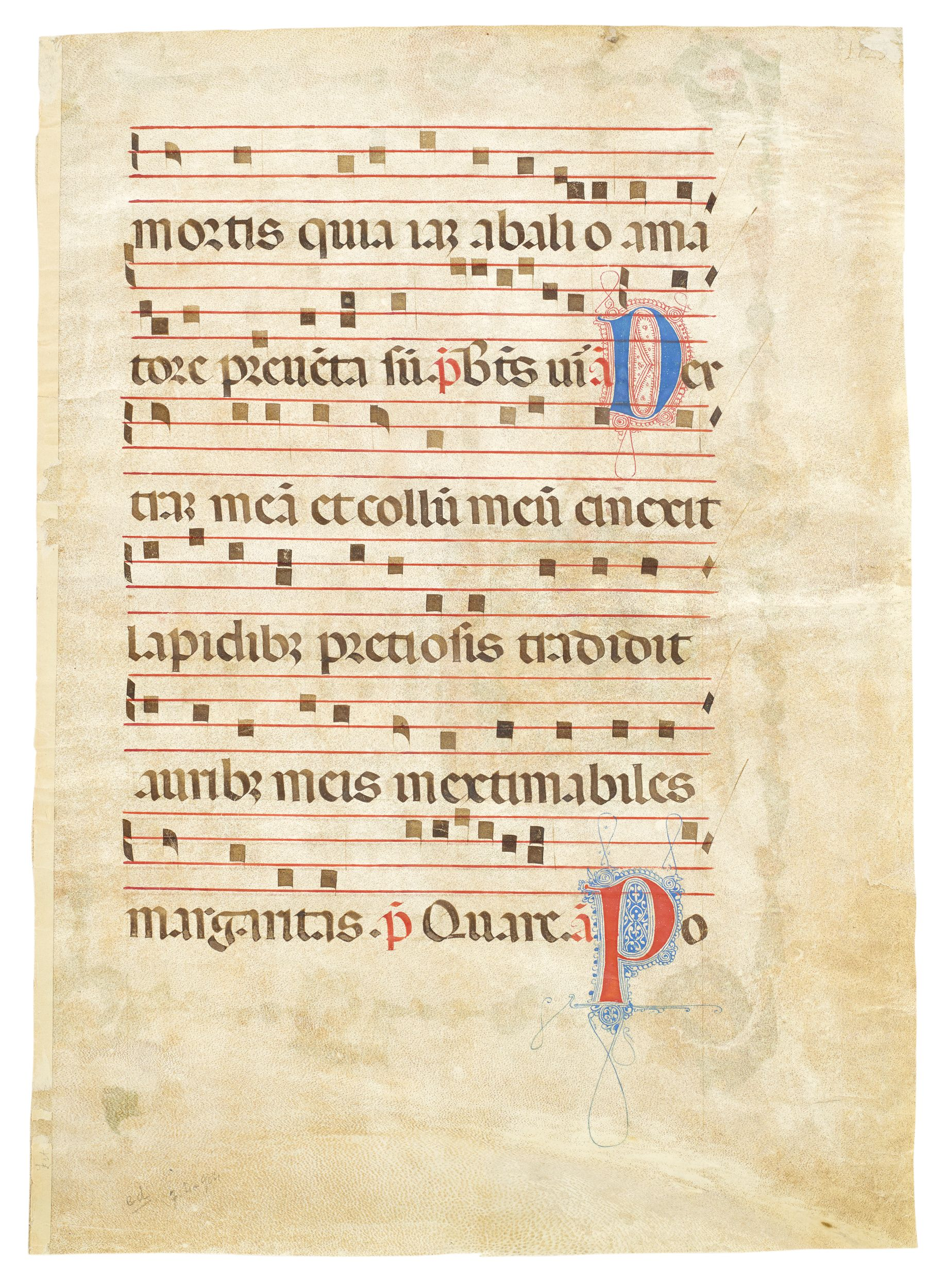 Unrecorded leaf from an early antiphoner