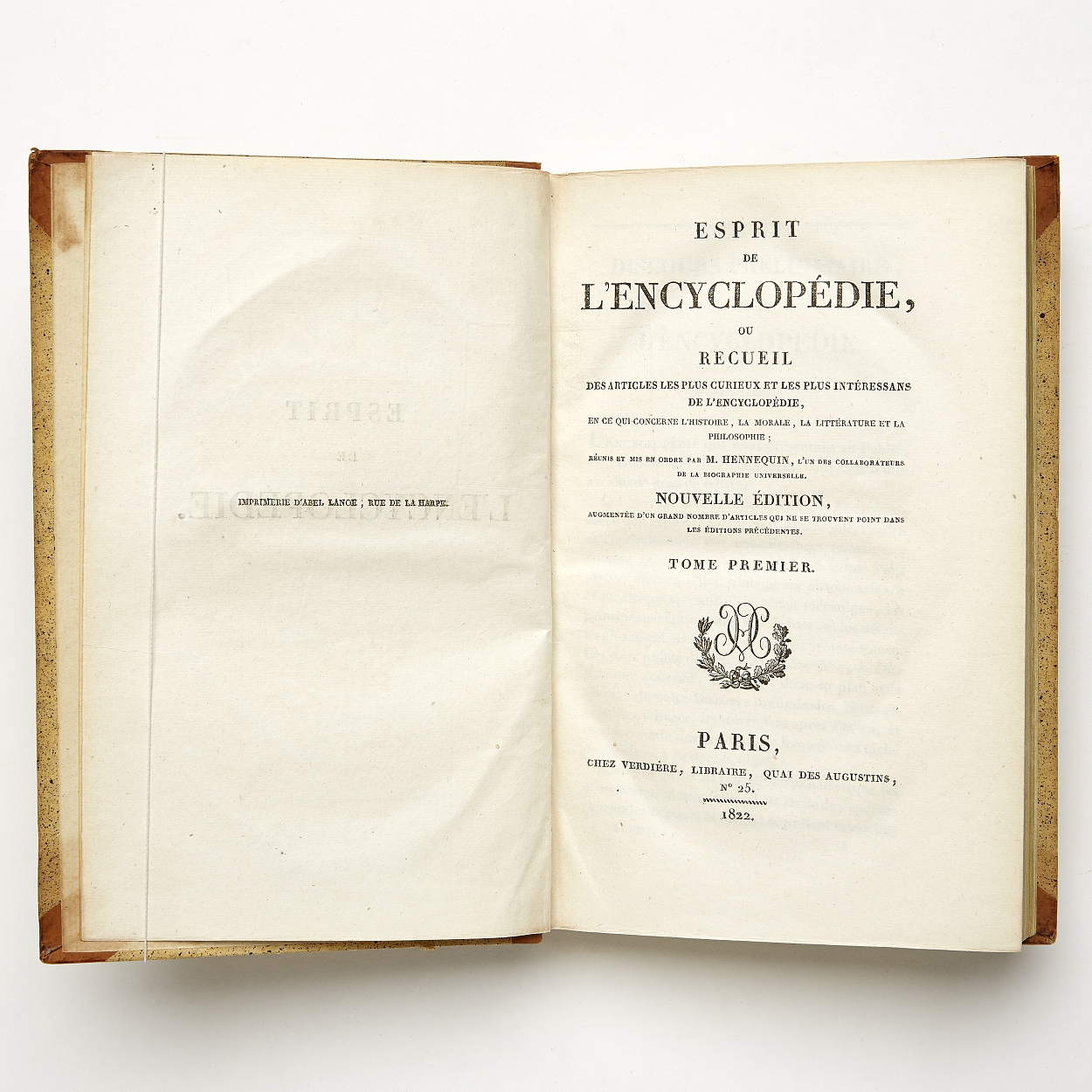 Esprit de l'encyclopédie 1822 in 15 volumes