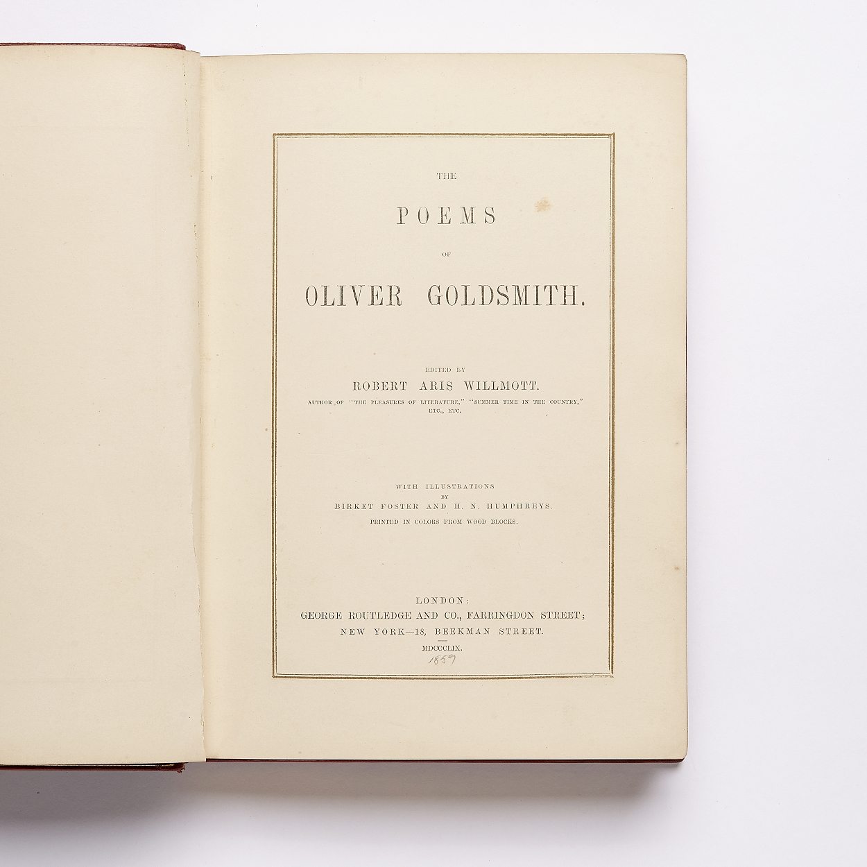 Colour printing Oliver Goldsmith's Poems 1859