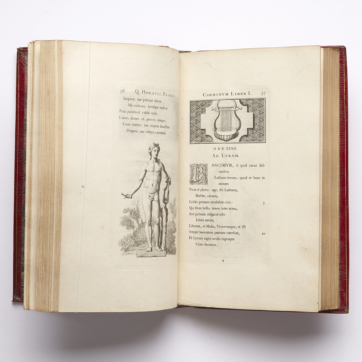 Pine's edition of Horace 1733-37 in red morocco