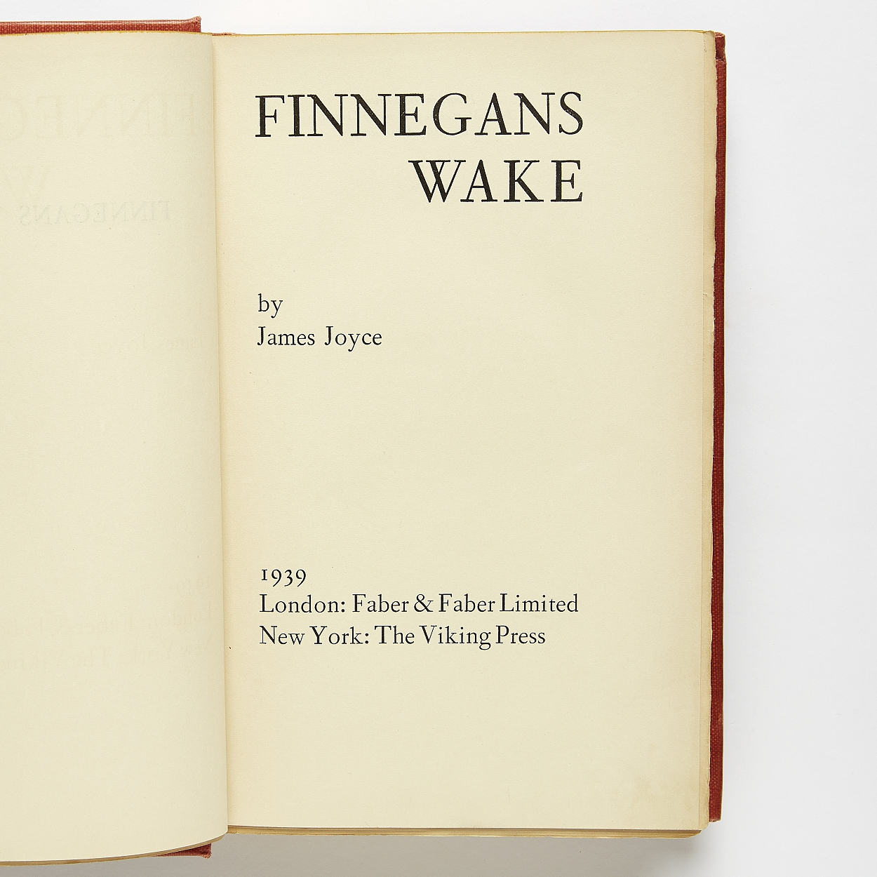 Signed copy of Joyce Finnegans Wake first edition