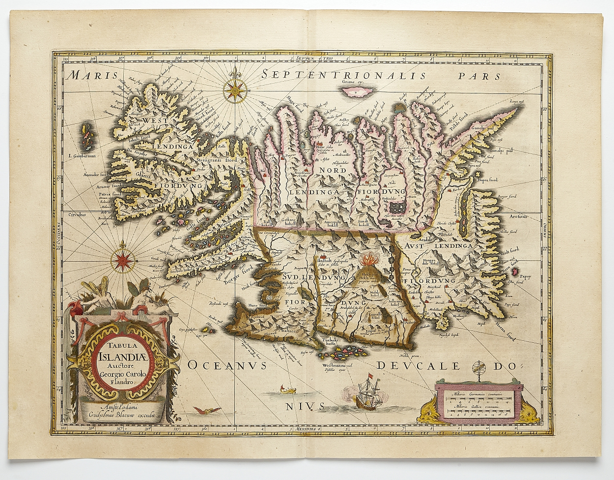 Fine map of Iceland by Blaeu c. 1640