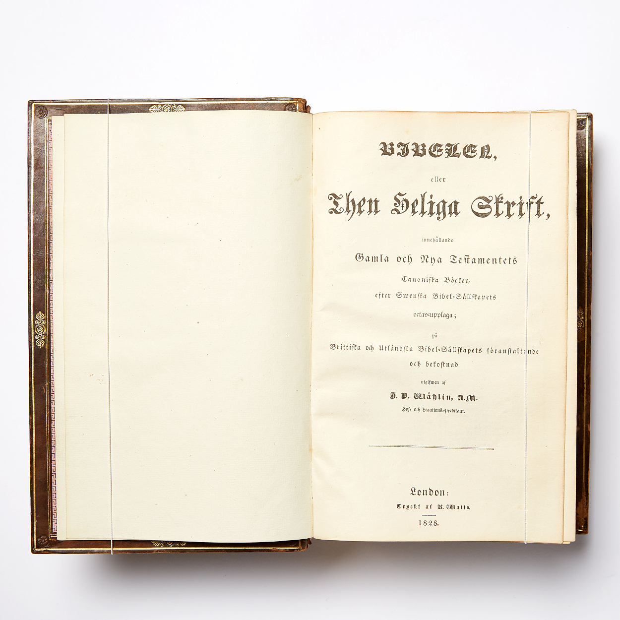 Bibel tryckt i London 1828 i samtida band