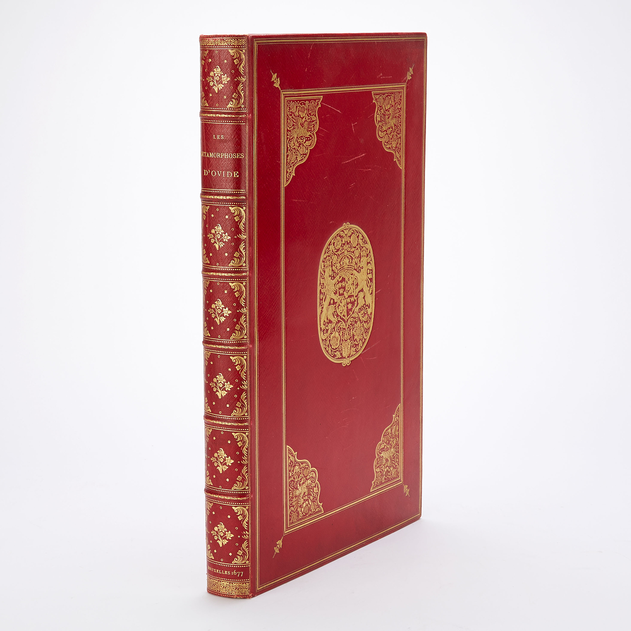 Ovidius' Les metamorphoses 1677 in red binding