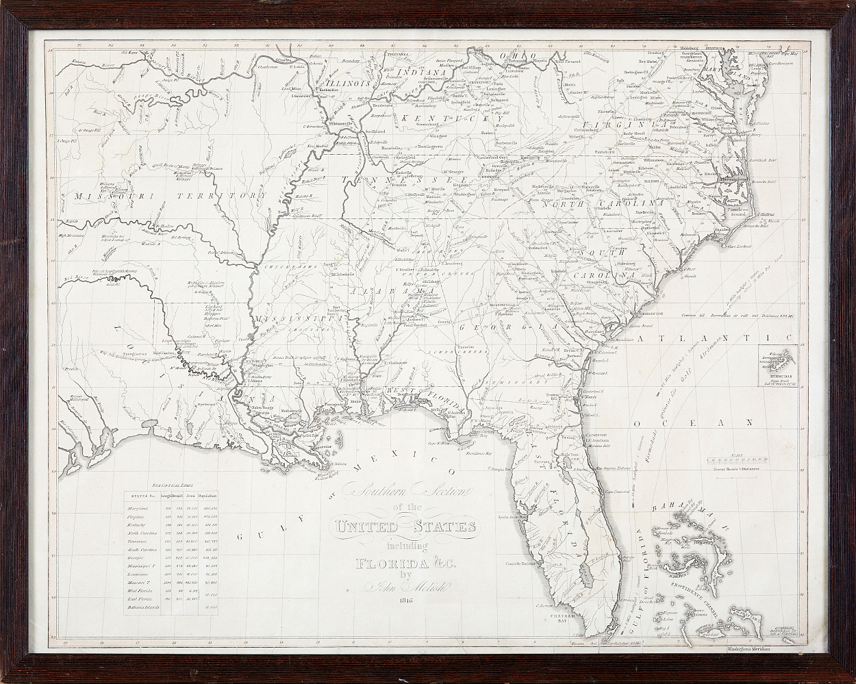 Rare map of Southern United States 1824