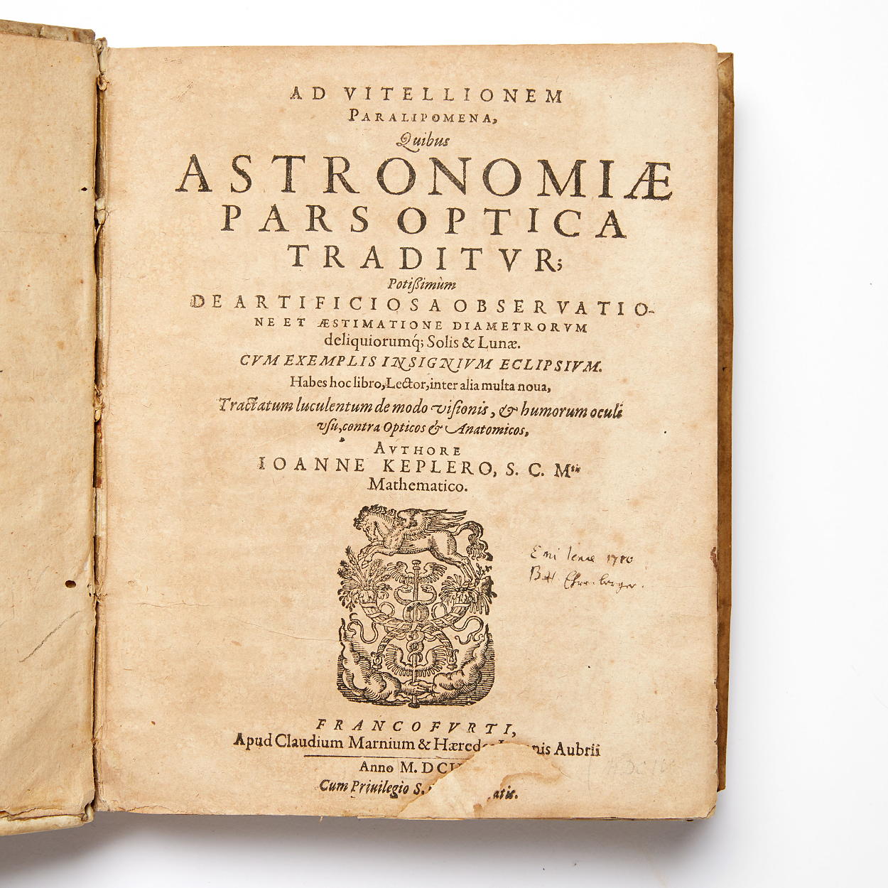 First ed. Kepler's Astronomiae pars optica... 1604