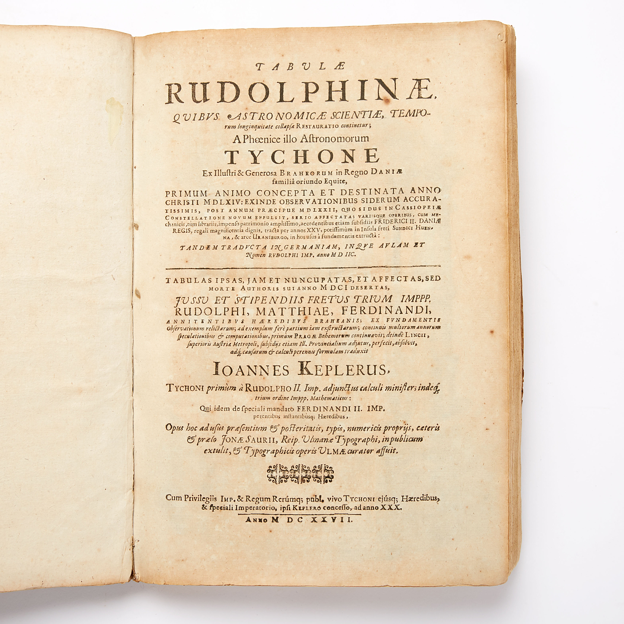 First edition of Kepler's Tabulae Rudolphinae 1627