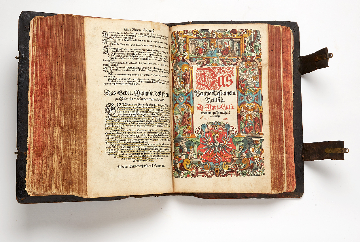 Biblia Germanica 1564-65 with coloured woodcuts