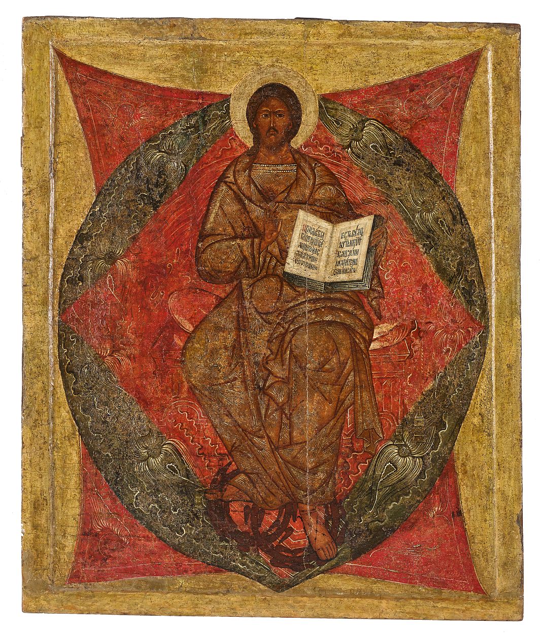 A Russian icon of the Saviour Enthroned in Glory