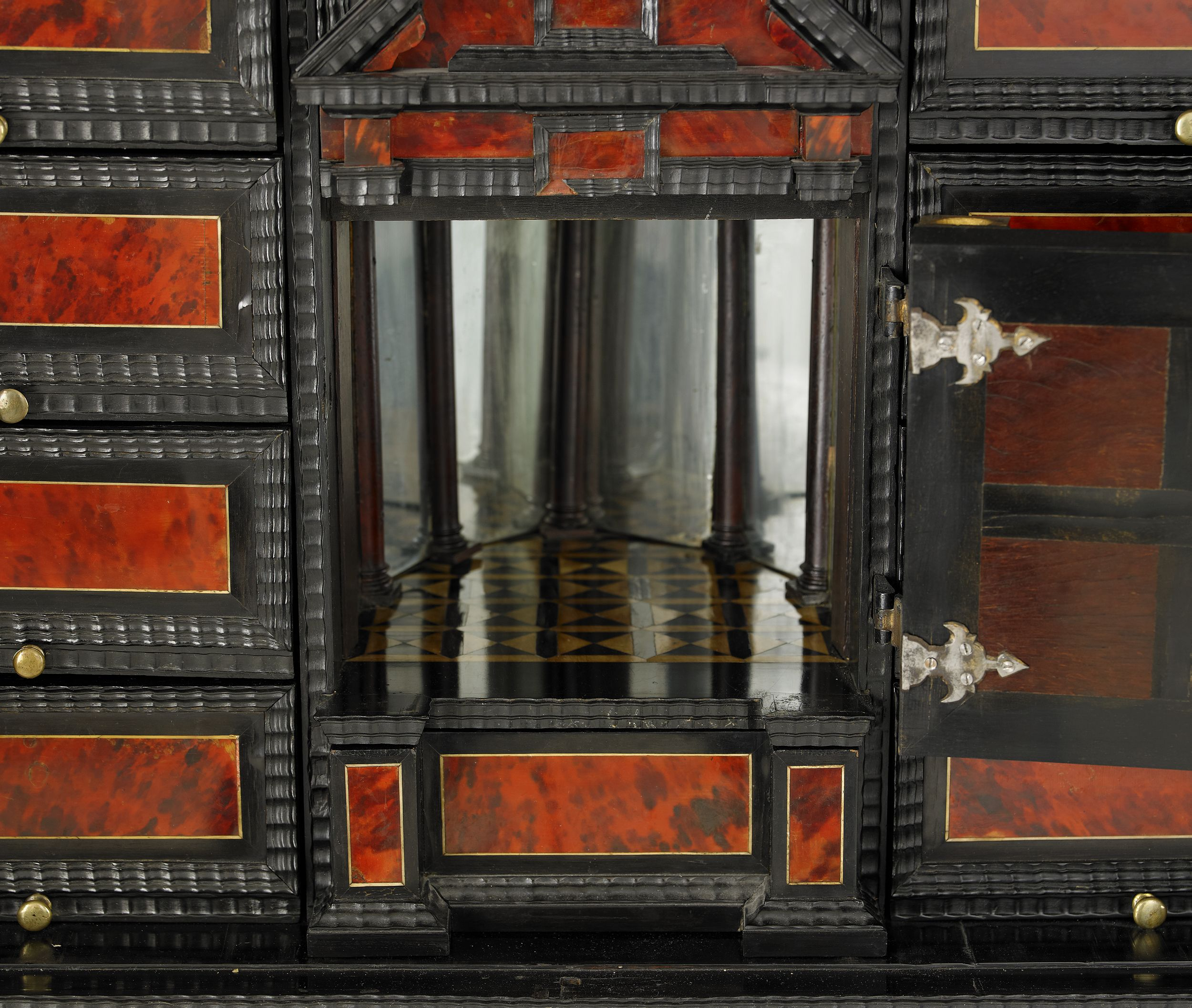 CABINET, Baroque, Central Europe, veneered with