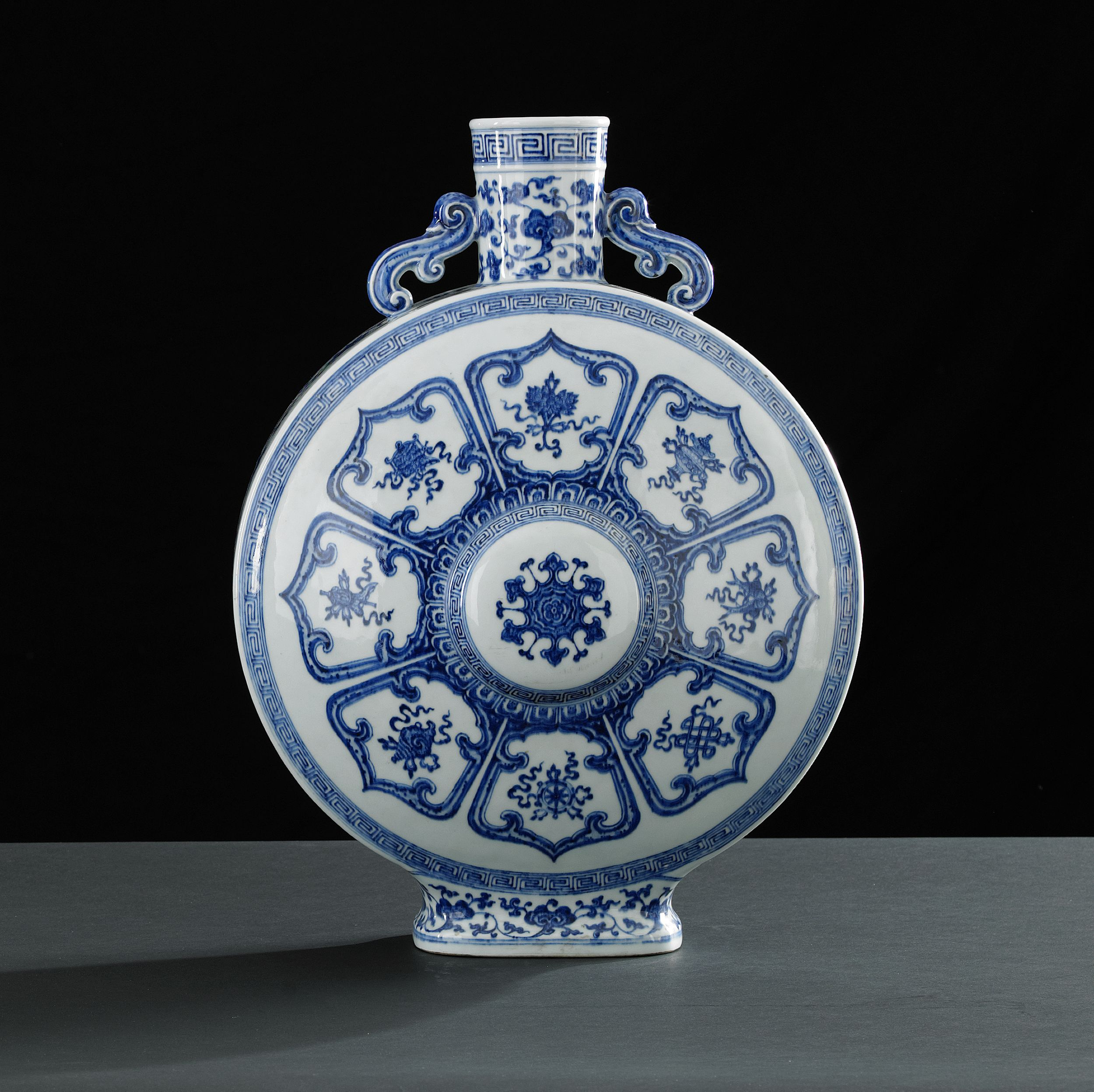 A Rare Blue and White Moonflask