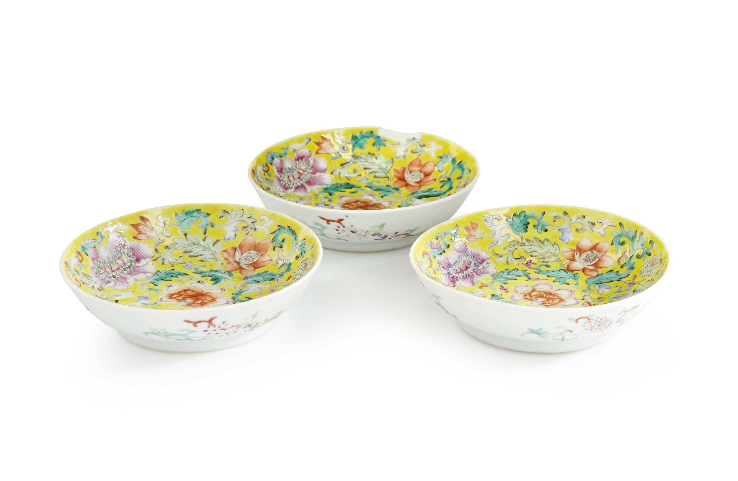 A Set of Three Famille Rose Saucer Dishes