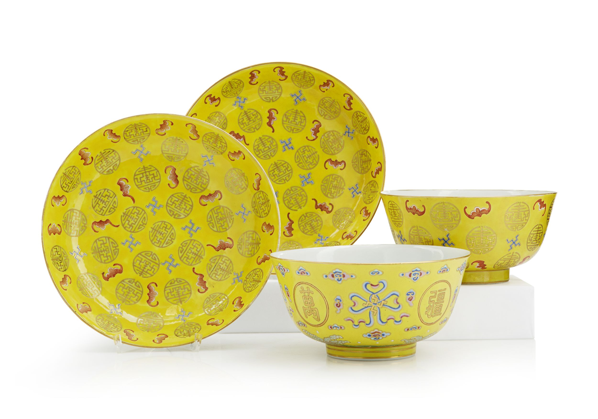 A Pair of Famille Rose Bowls and A Pair of Dishes