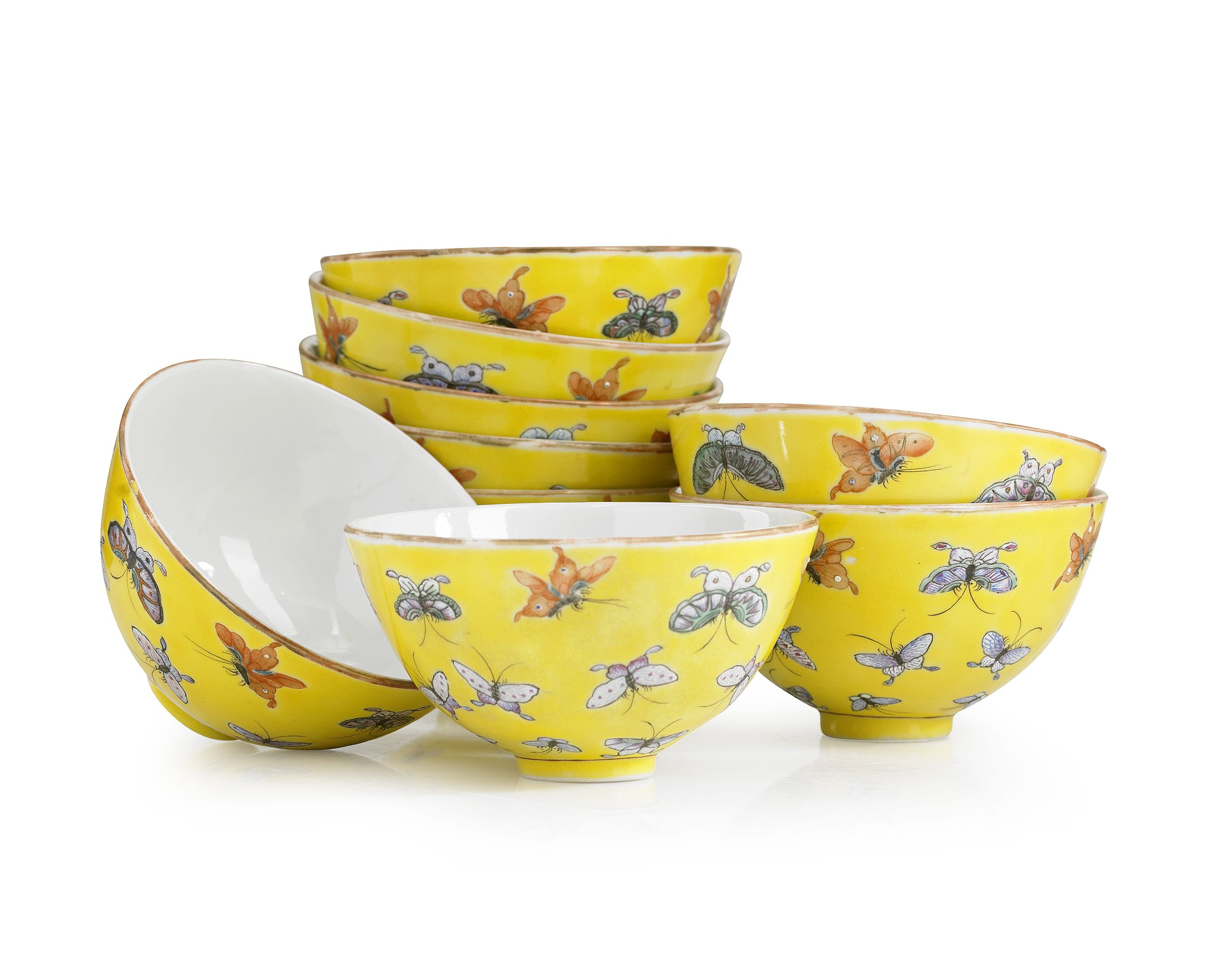 A Set of Nine Famille Rose Butterfly Bowls
