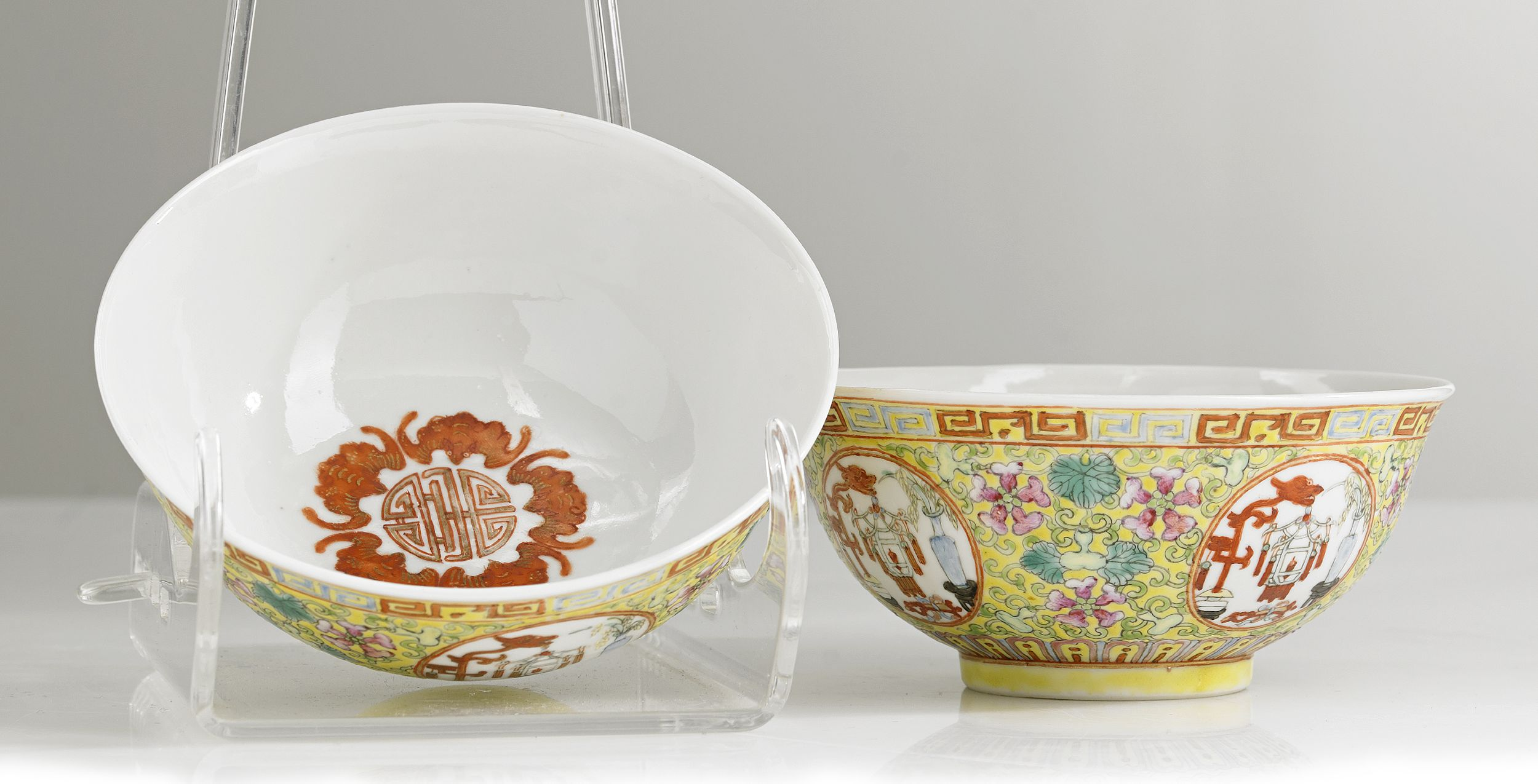 A Pair of Famille Rose Yellow-Ground Bowls