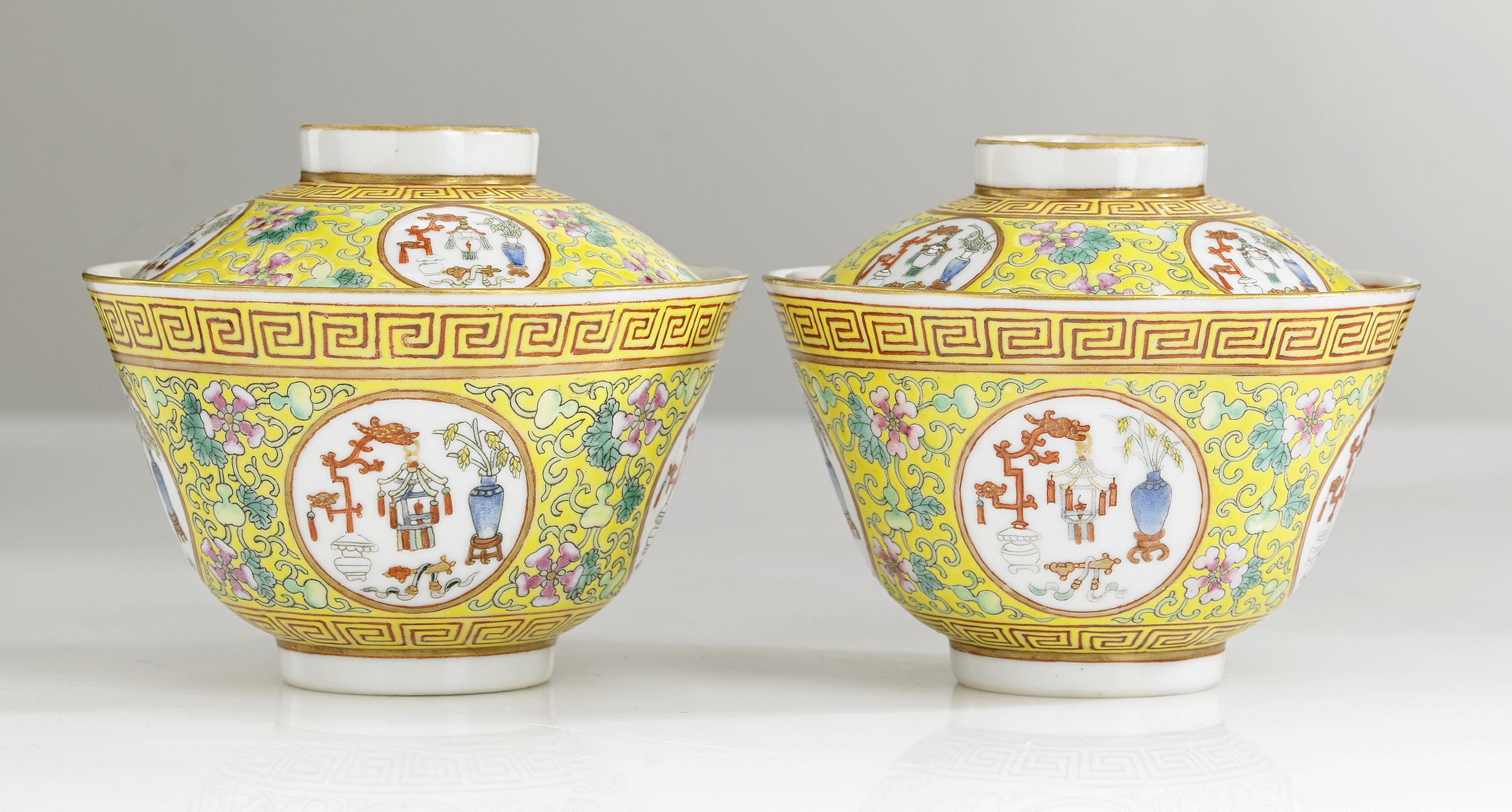 A Pair of Famille Rose Bowls and Covers