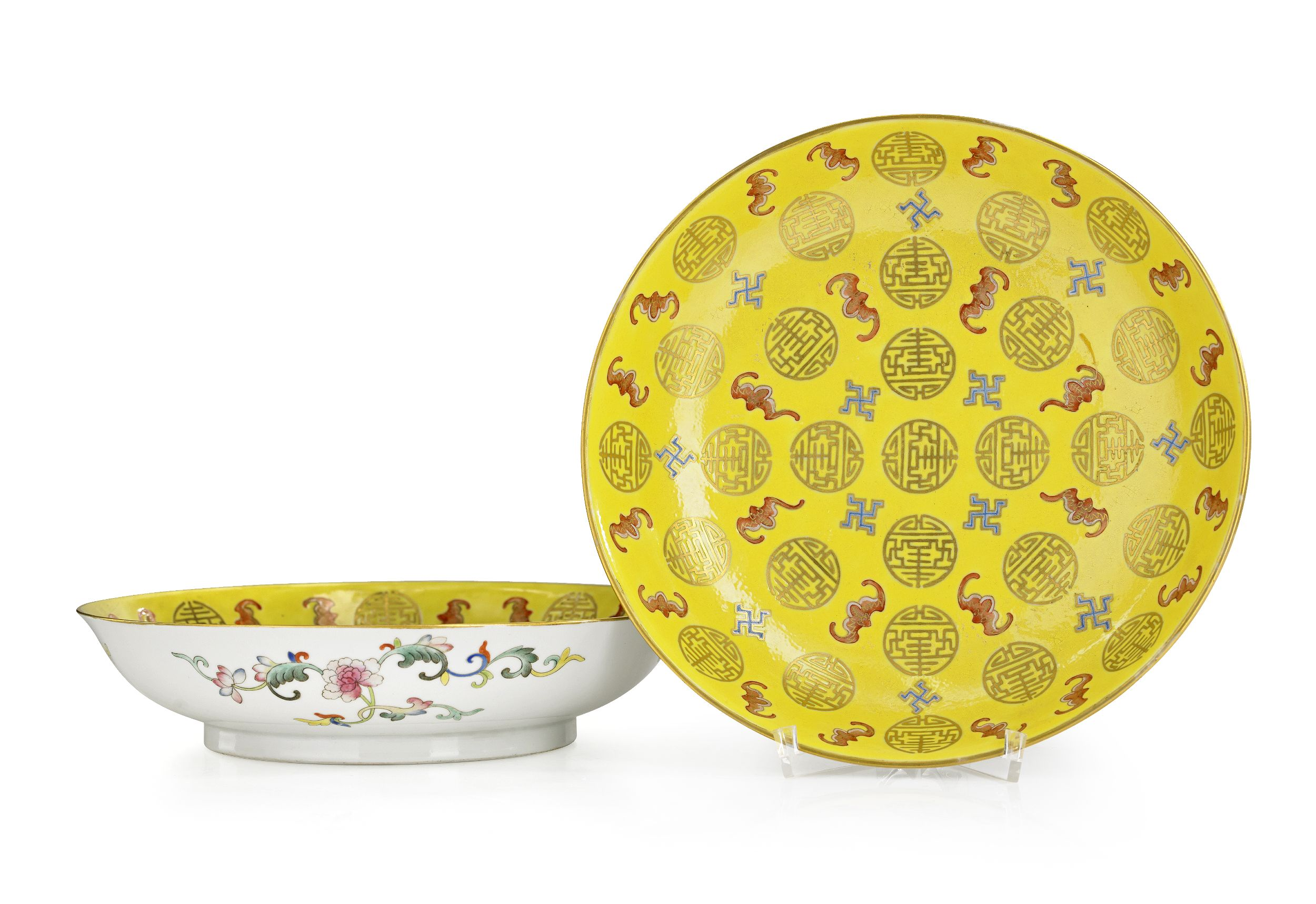 A Pair of Yellow-Ground Dishes