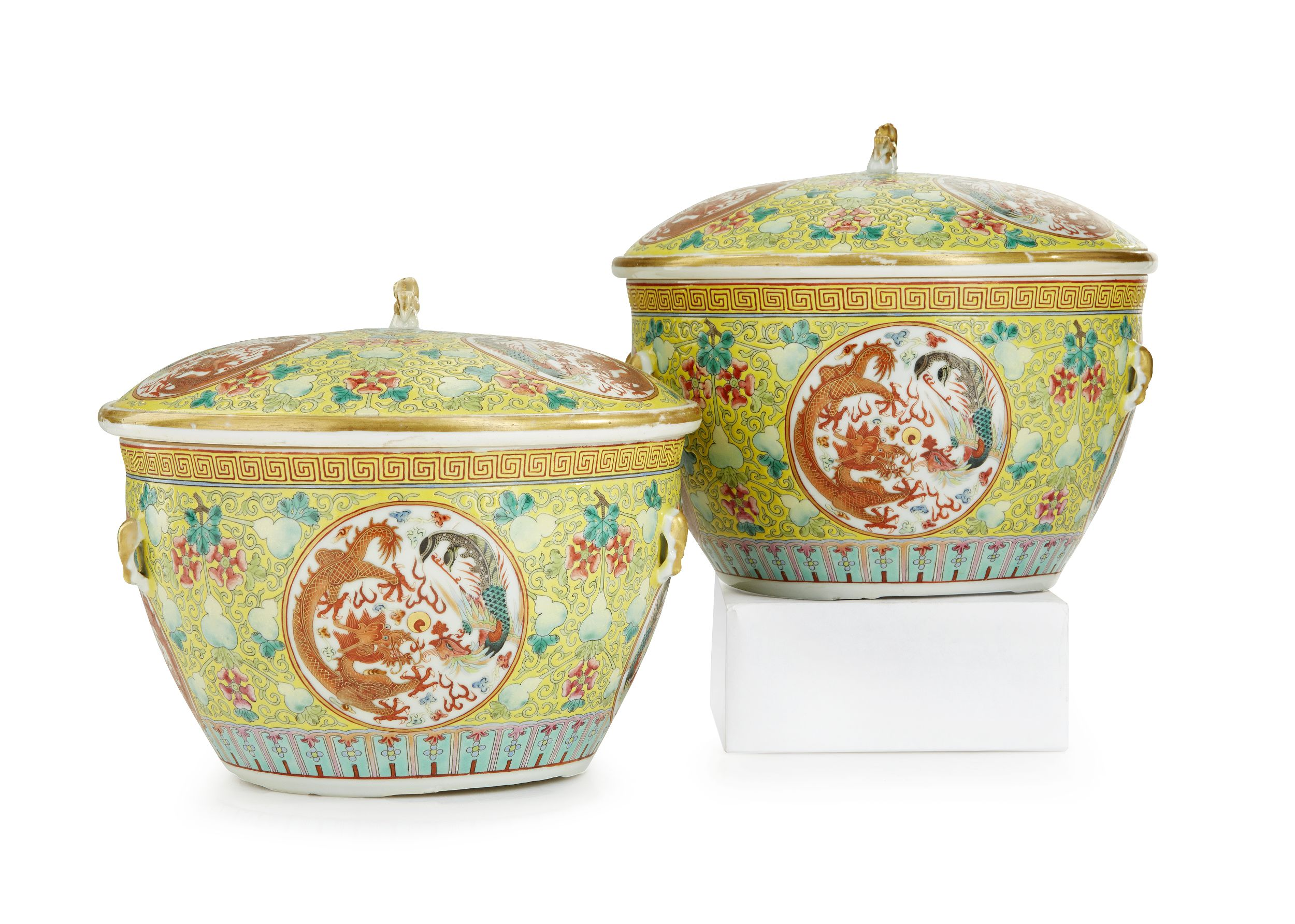 A Pair of Famille Rose Vessels and Covers