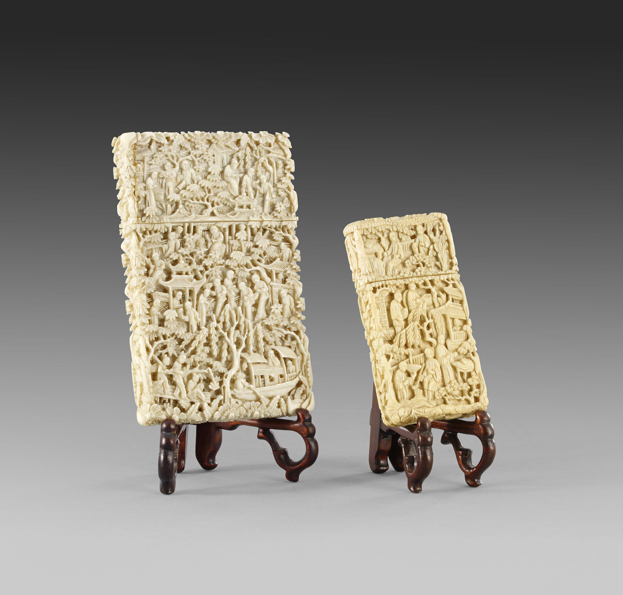 A Canton Ivory Card Case and Necessaire