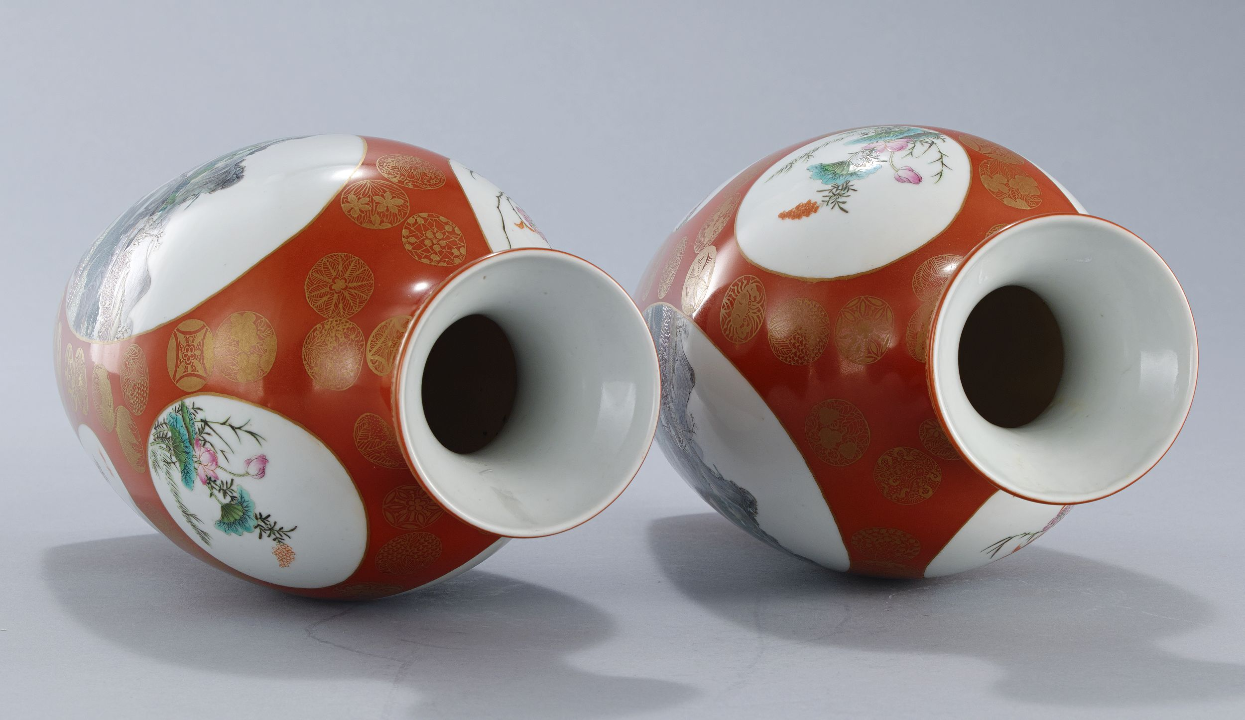 A Pair of Coral-Ground and Famille Rose Vases