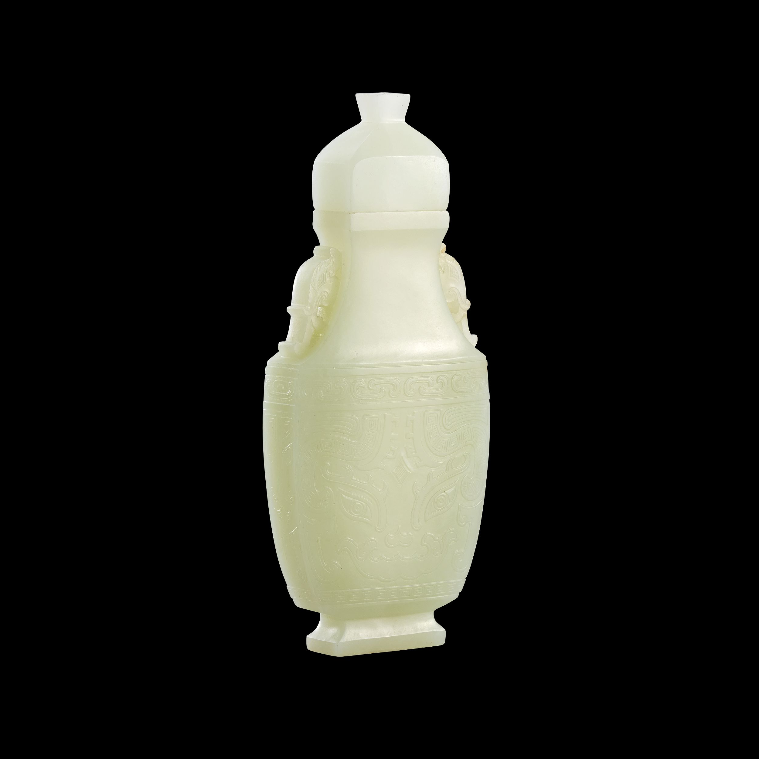 A Pale Celadon Jade Archaistic Vase and Cover