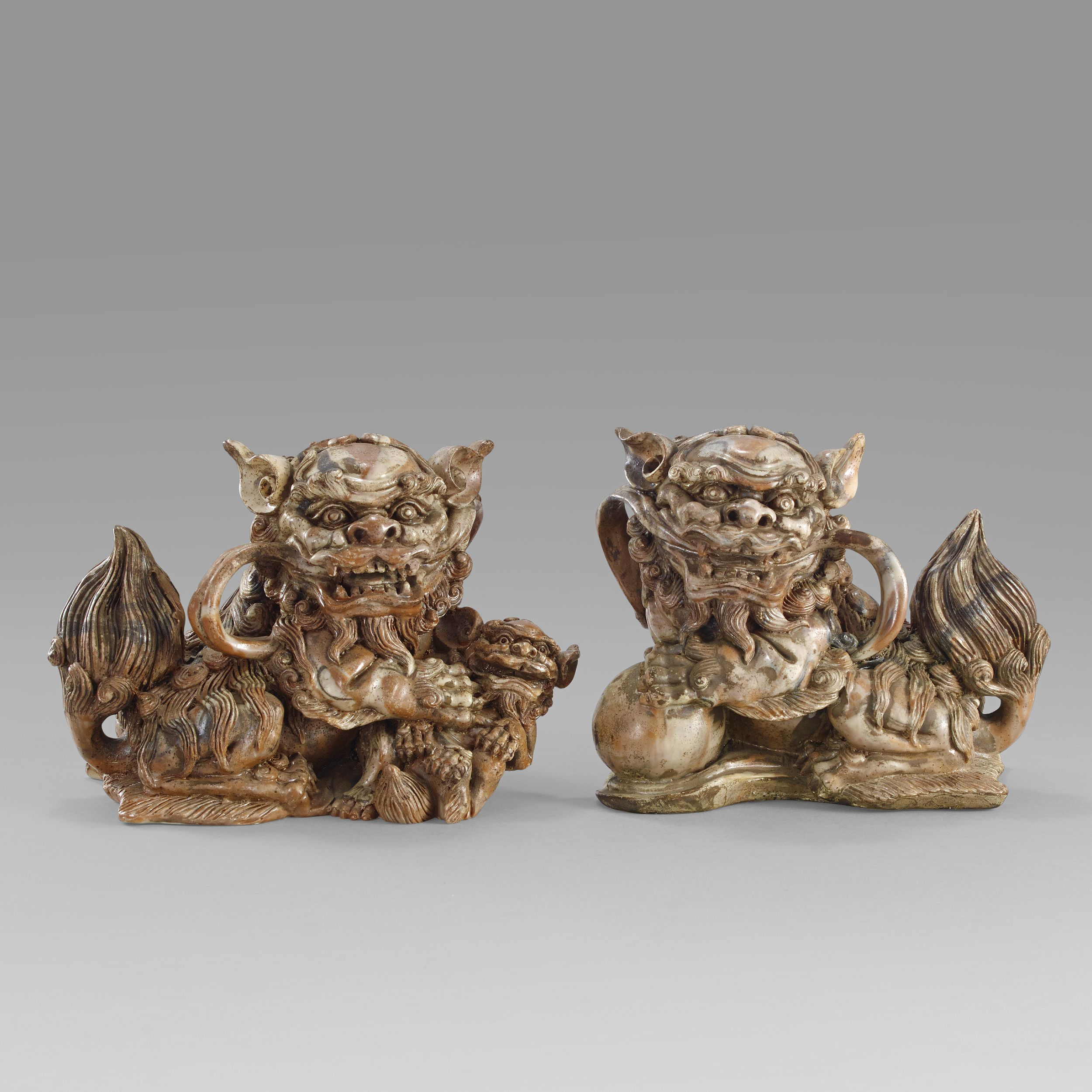 A Pair of Soapstone Lions