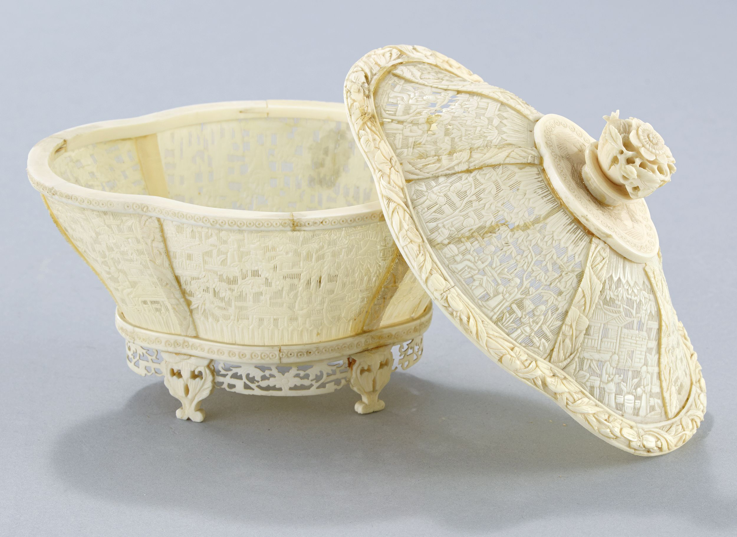 A Pierced Ivory Canton Bowl and Cover