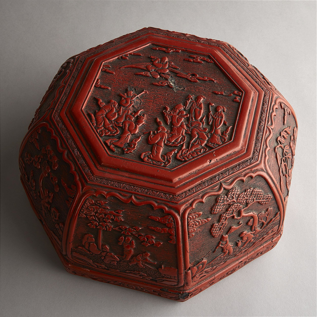 A Cinnabar Lacquer 'Longevity' Box and Cover