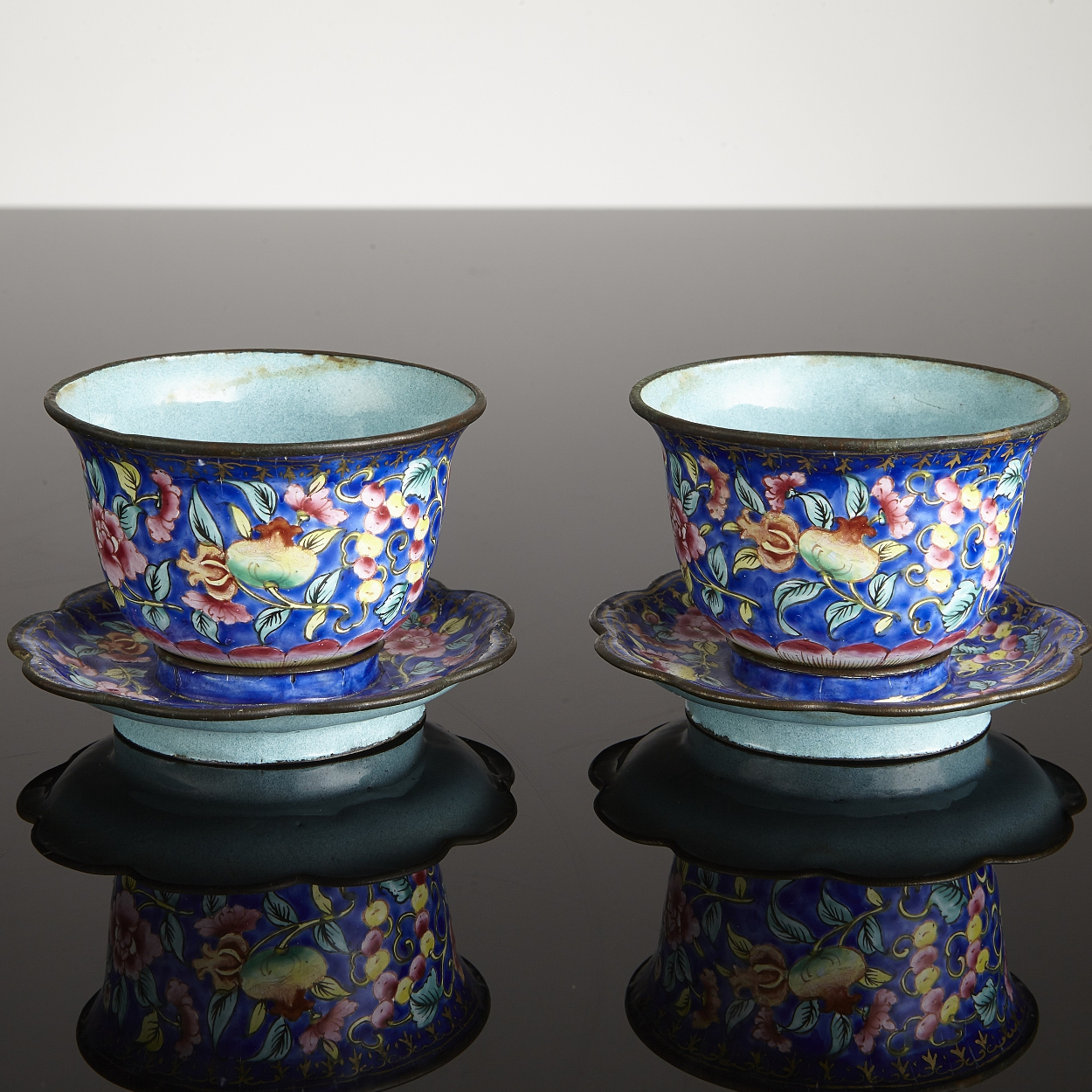 A Pair of Canton Enamel Cups with Stands