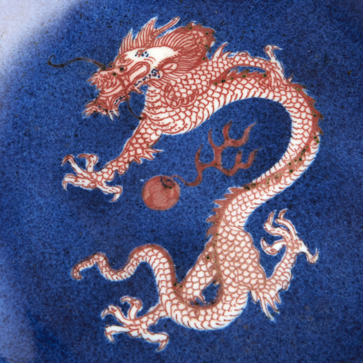 A Powder-Blue and Copper-Red Dragon Dish