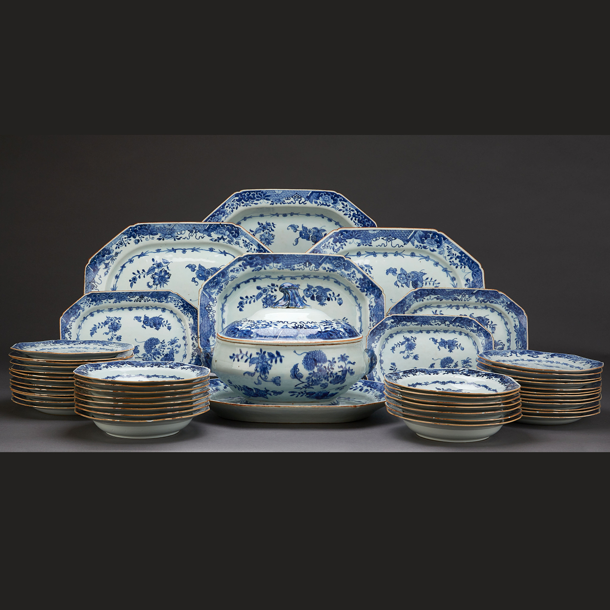 A 48 Piece Blue and White Dinner Service