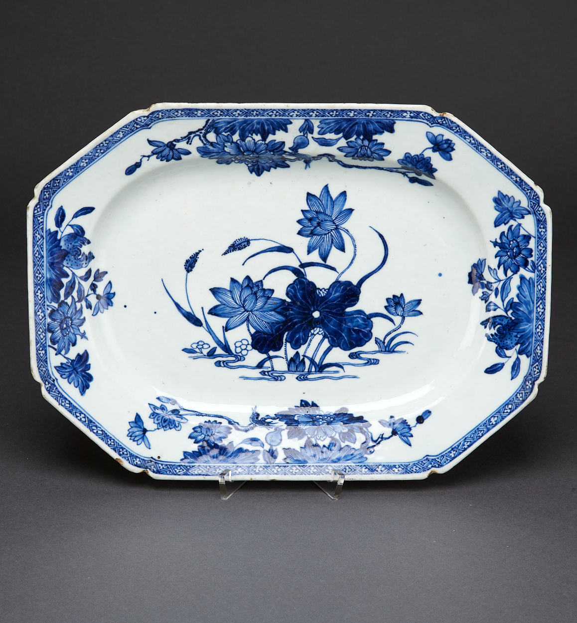 A Pair of Octagonal Blue and White Dishes
