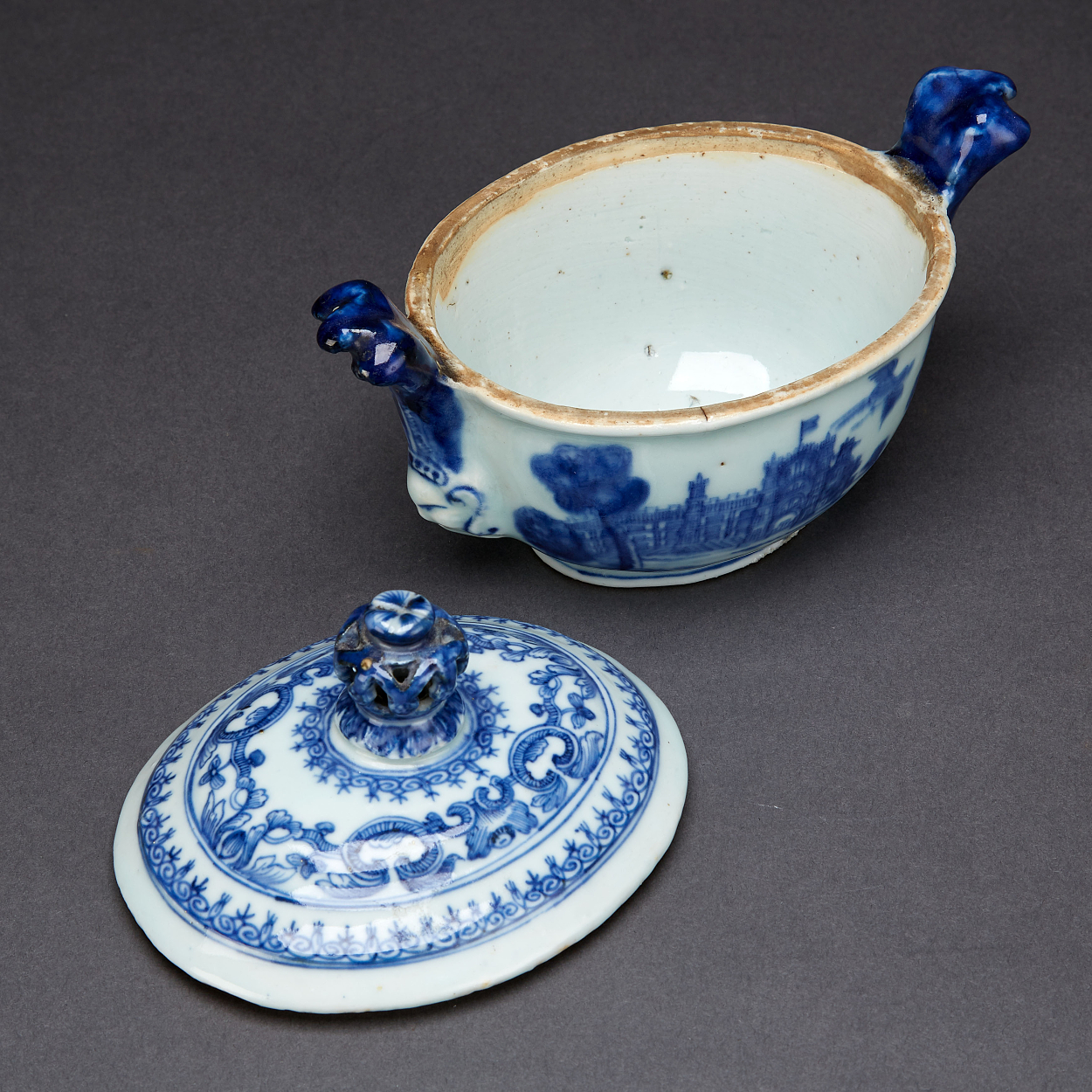 A Blue and White 'Burghley House' Butter Tub