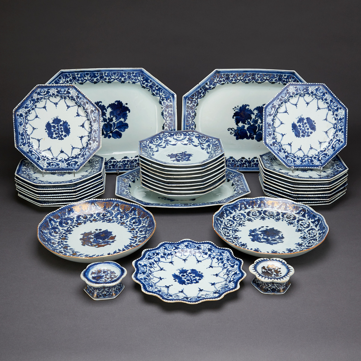 A 36 Piece Blue and White Dinner Service