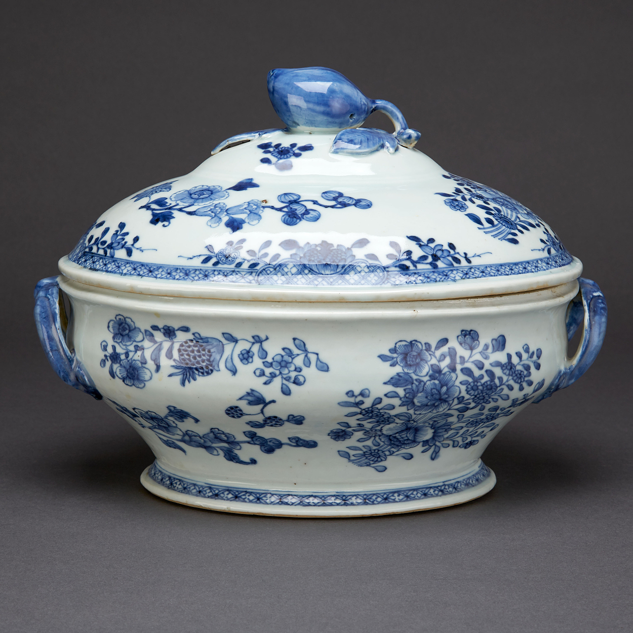 A Blue and White Tureen with Cover