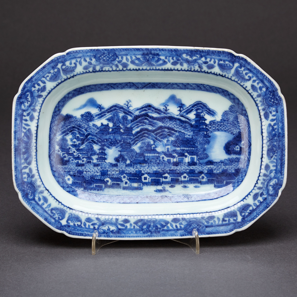 A Blue and White Octagonal Dish