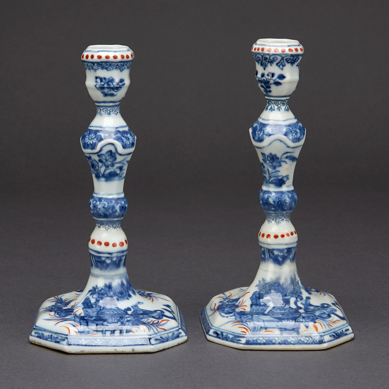 A Pair of Blue and White Candlesticks