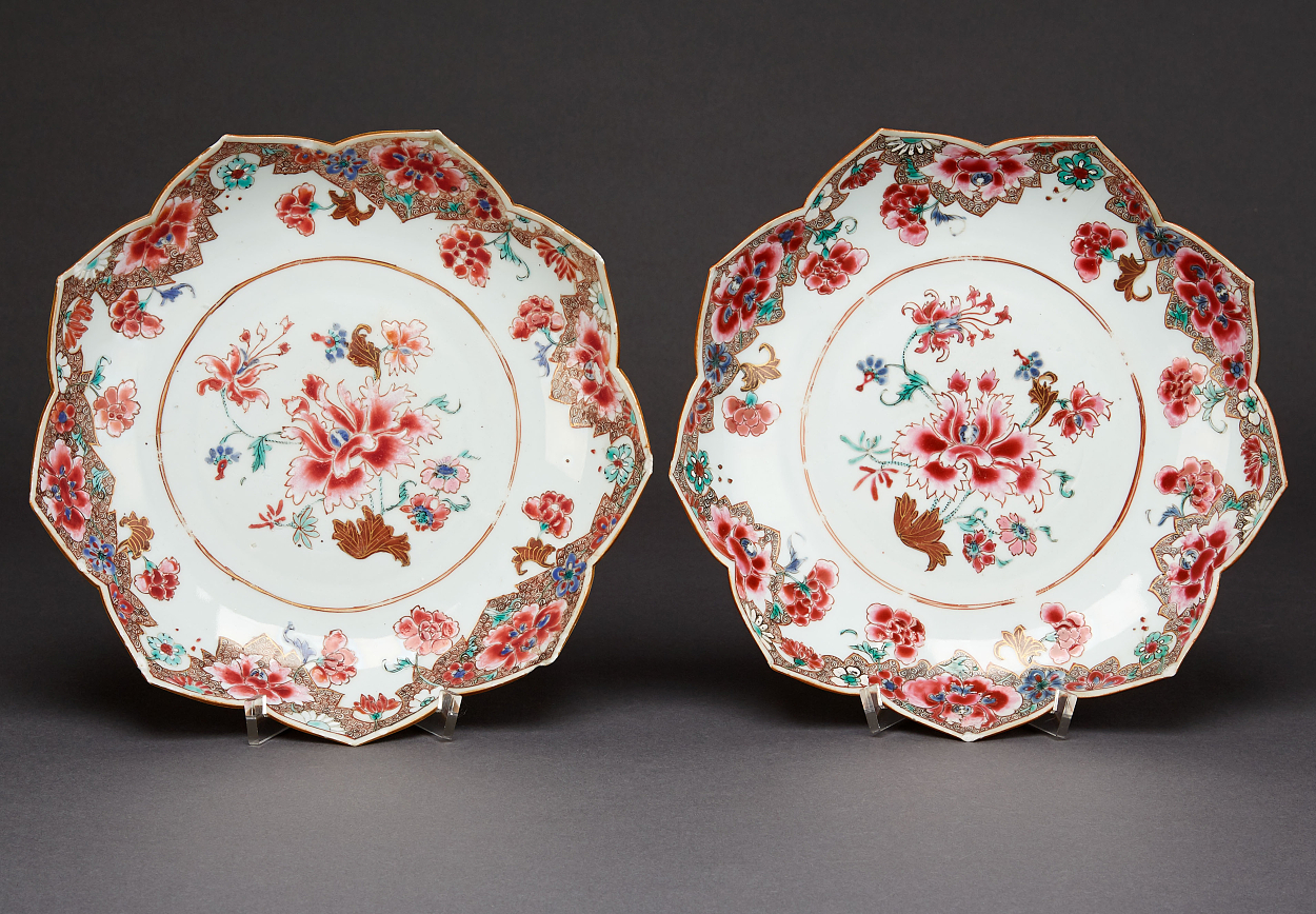 A Pair of Lotus-Shaped Famille Rose Plates
