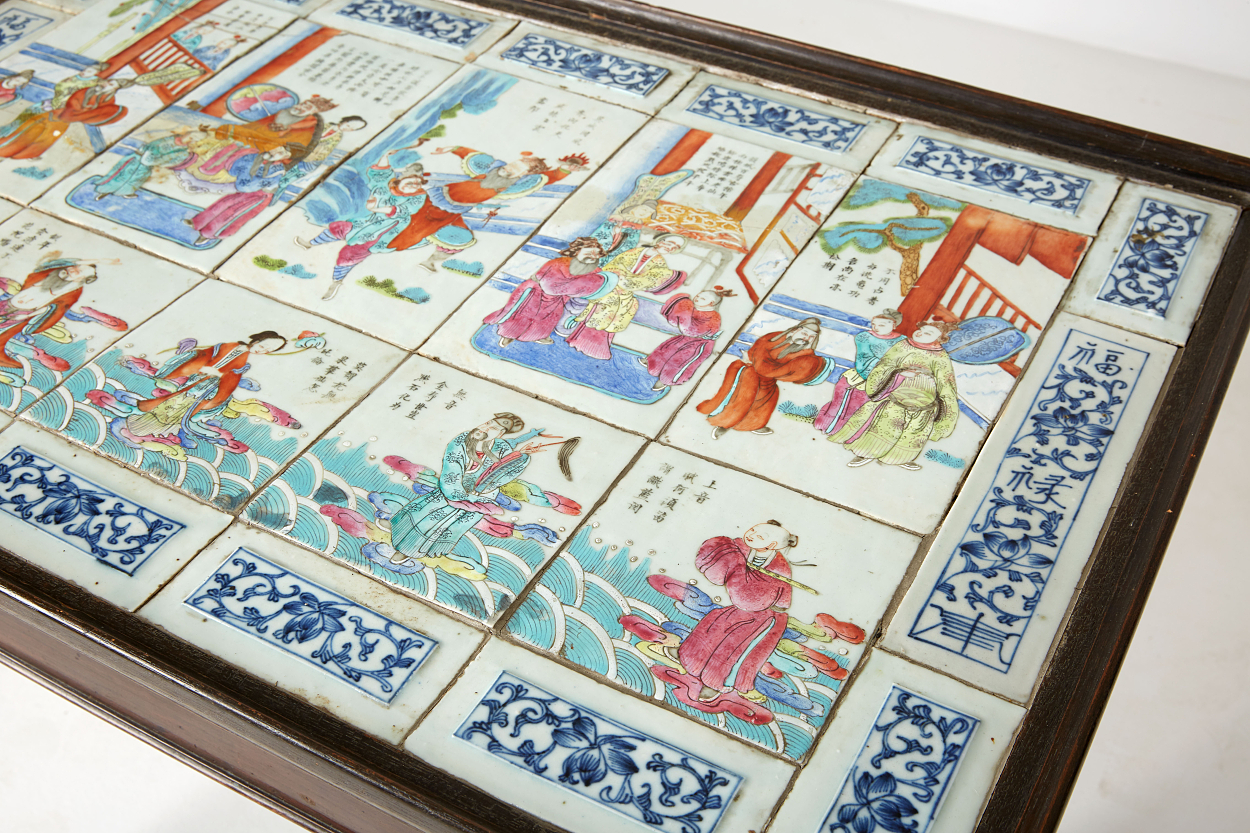 Chinese Porcelain Plaques Mounted in a Tabletop