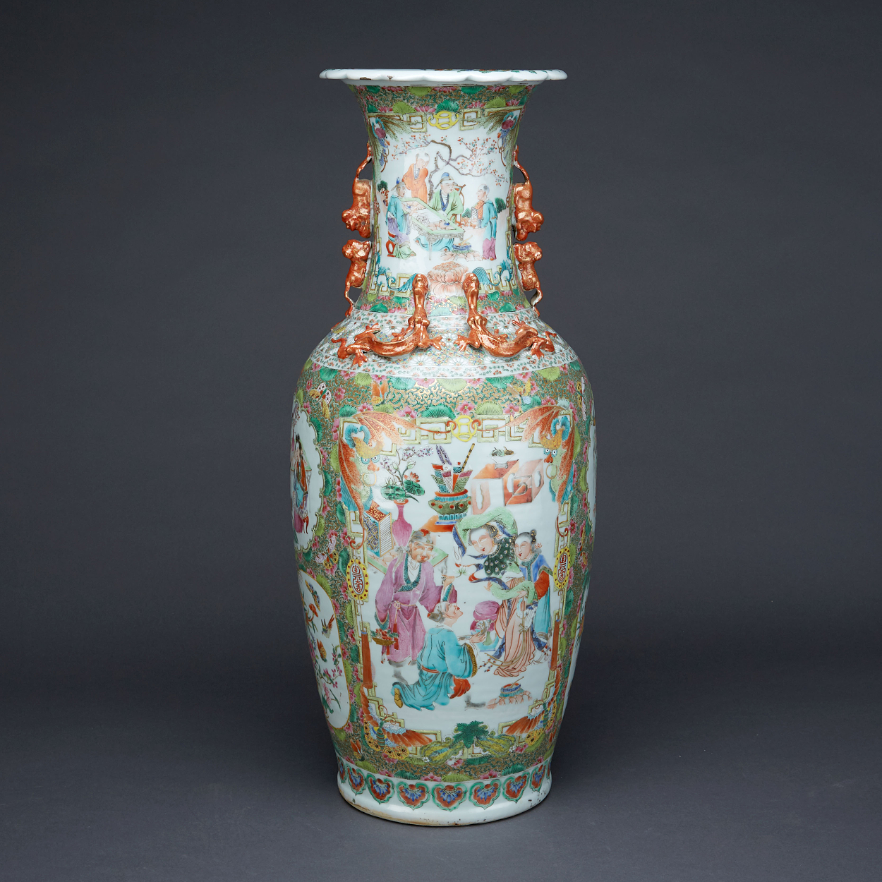 A Large Famille Rose Canton Vase