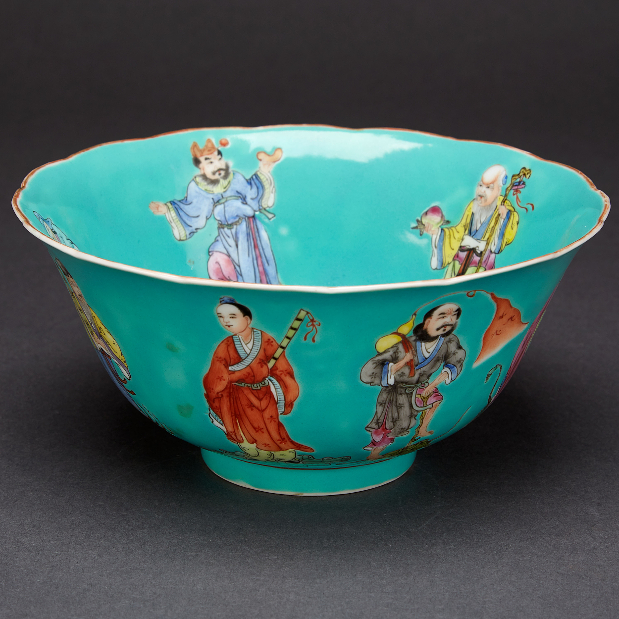 A Turquoise Glazed 'Daoist Immortals' Bowl