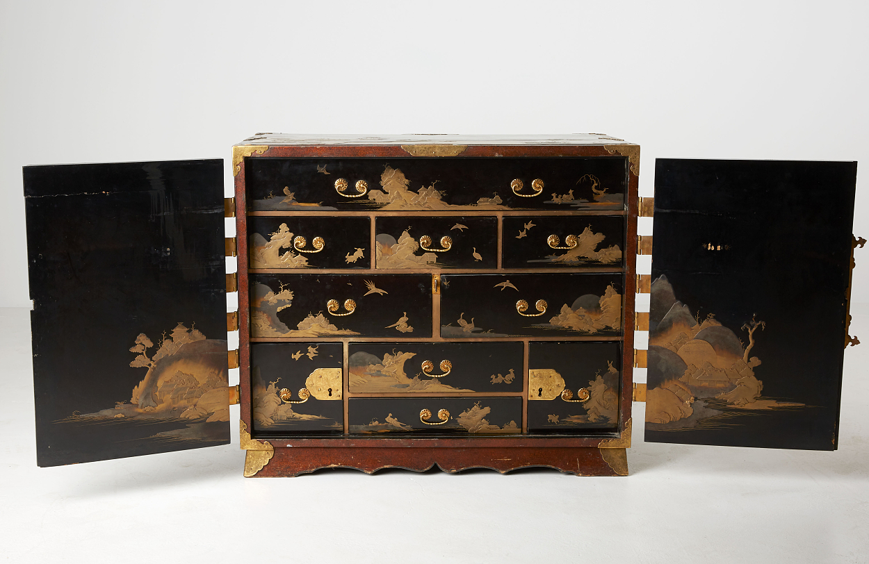 A Japanese Metal-Mounted Export Lacquer Cabinet