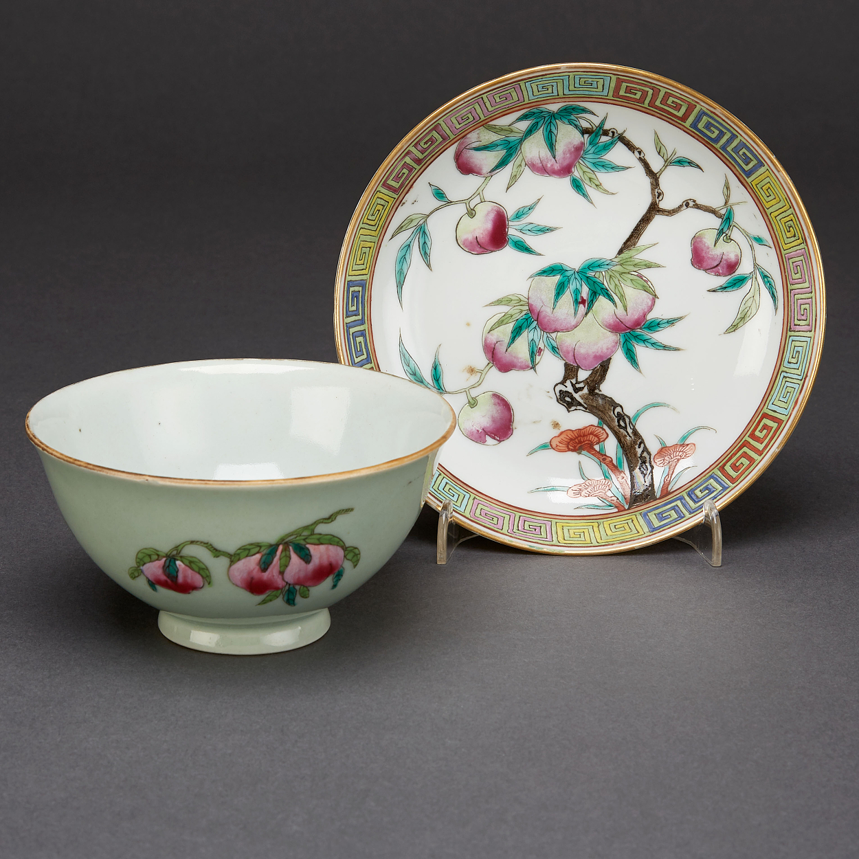 A Famille Rose 'Peach' Cup, Dish and Brush Pot