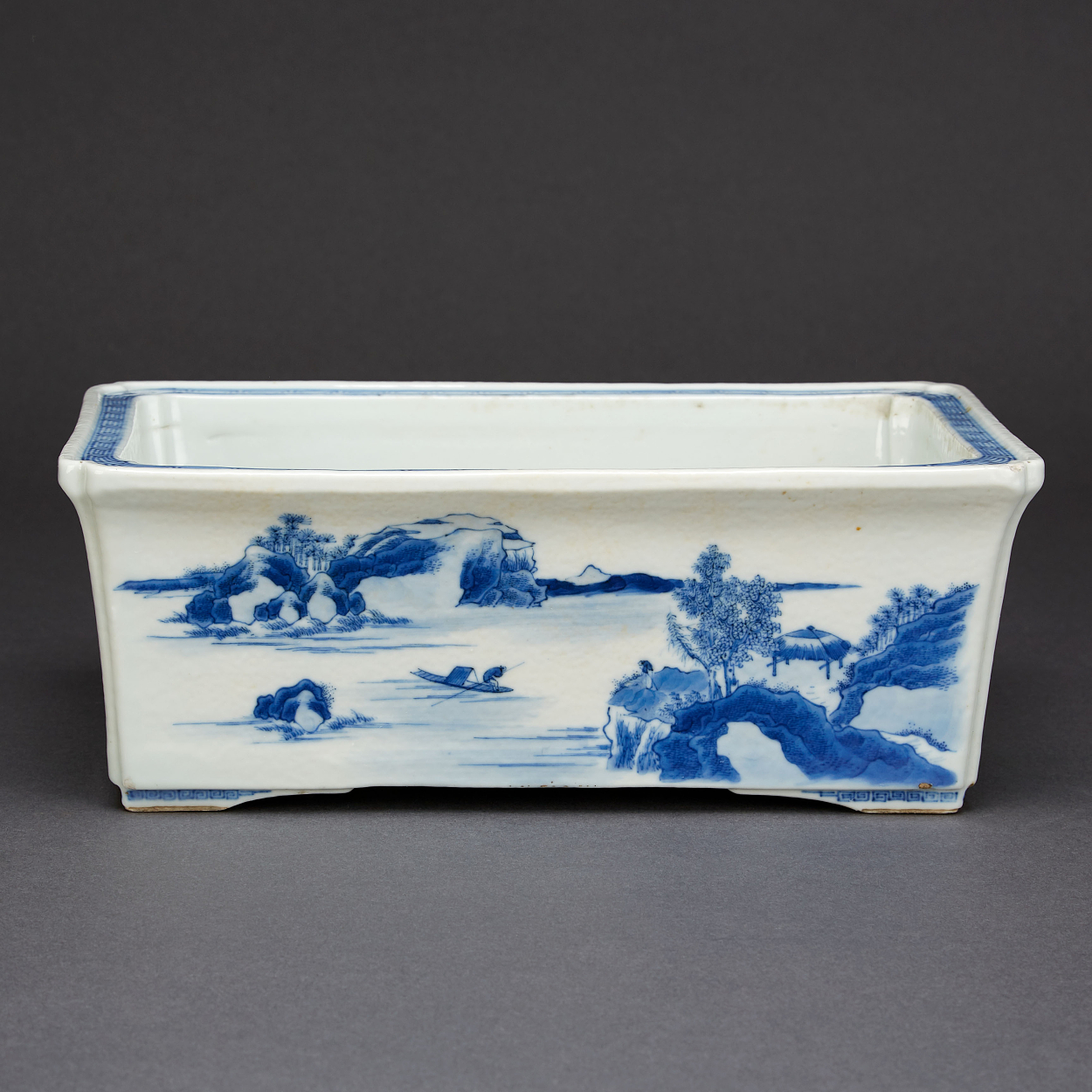 A Rectangular Blue and White Jardiniere