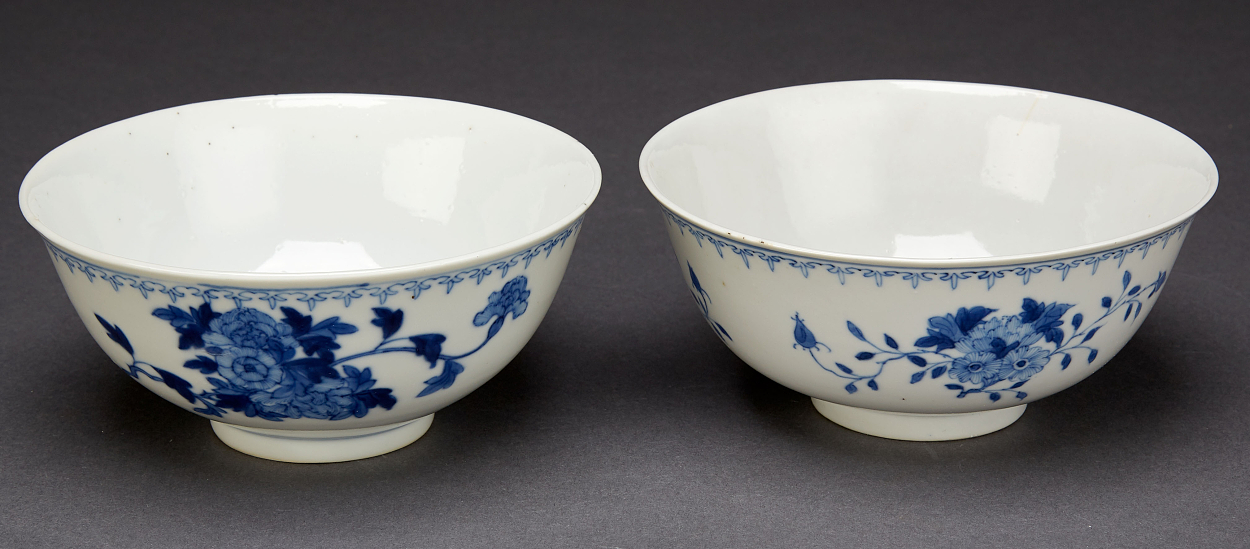 Eight Blue and White Porcelain Objects