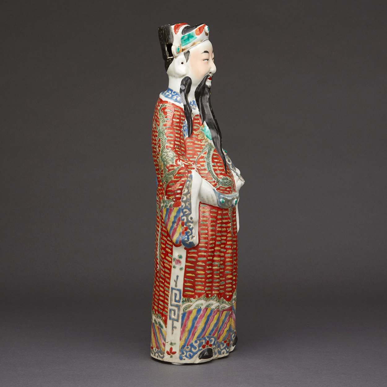 A Famille Rose Figure of Cao Guojiu