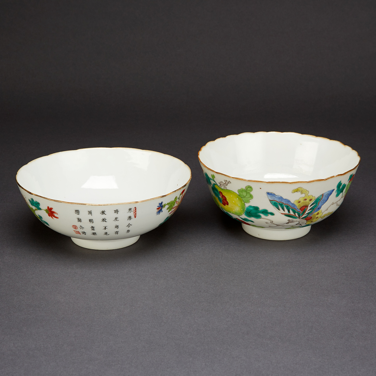 Two Famille Rose Bowls