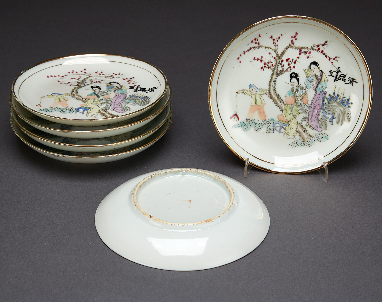 Six Famille Rose Dishes and Six Porcelain Objects